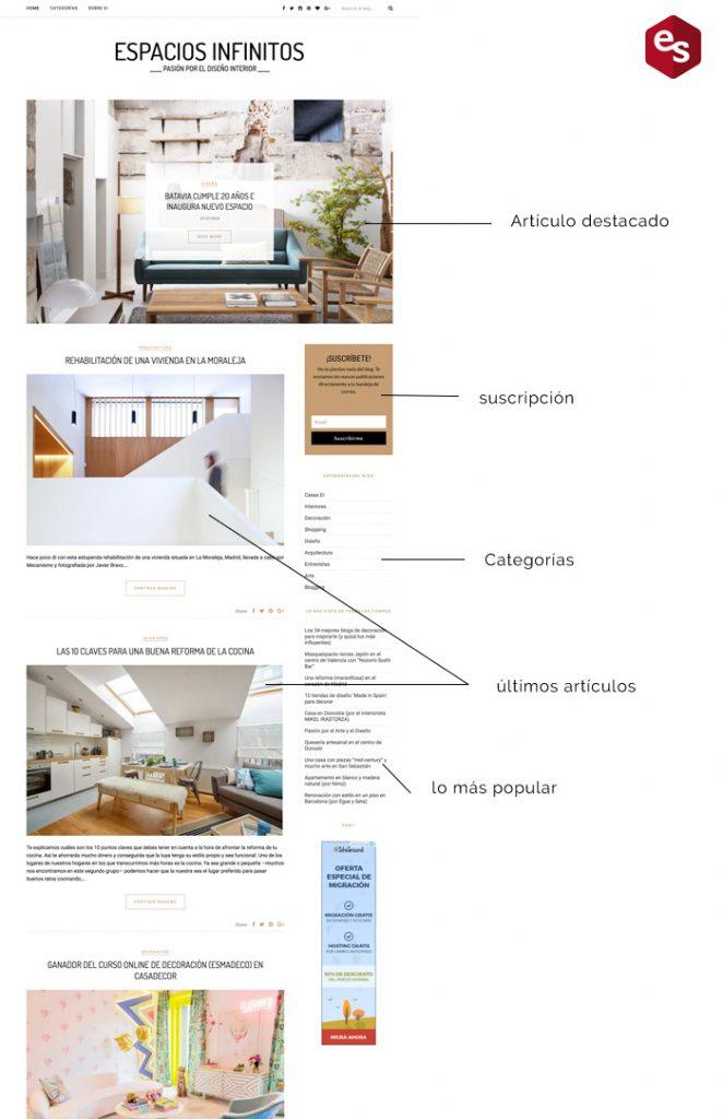 diseño de la home de una web
