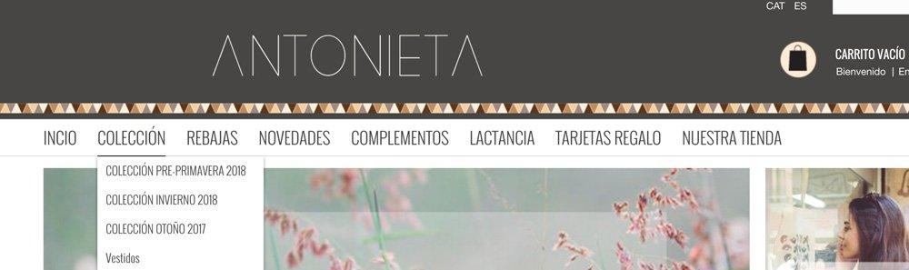 ejemplo menu tienda online