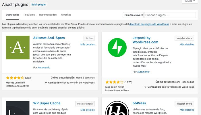 Escoger un plugin para WordPress