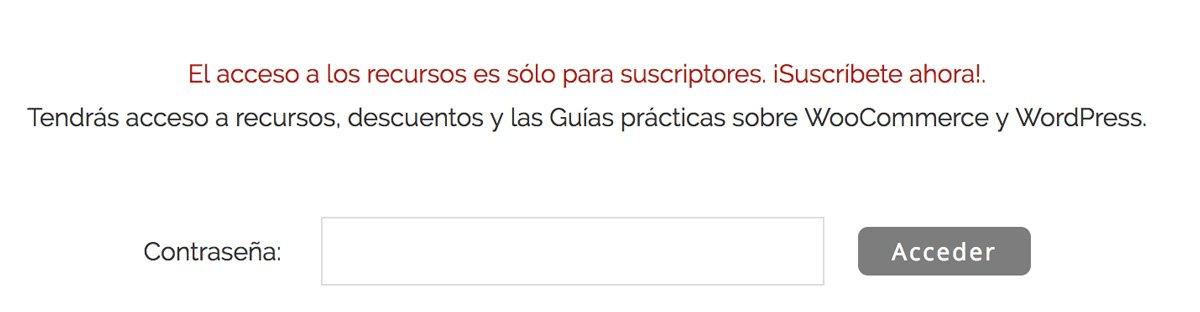 Pagina protegida contraseña WordPress