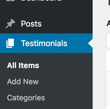 Menu testimonios WordPress