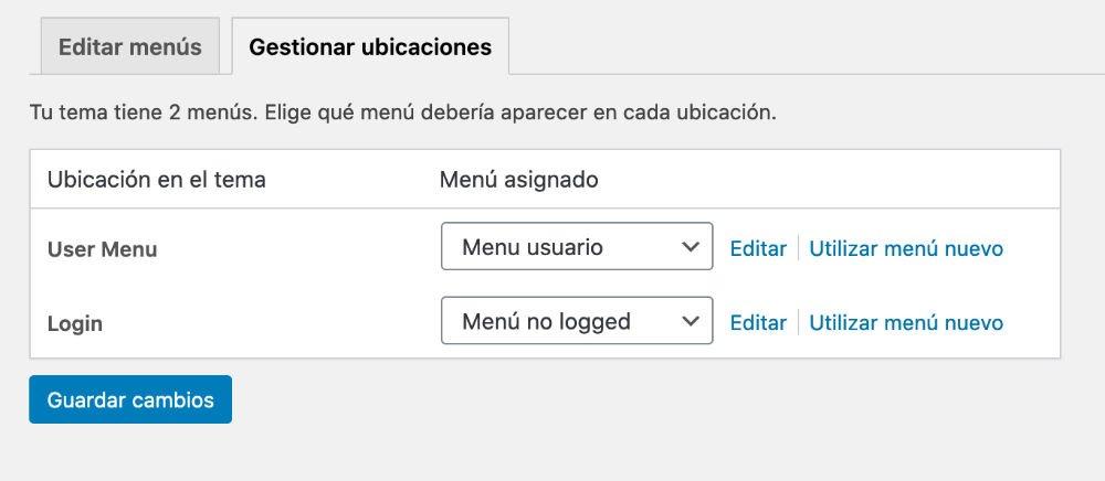 menu usuario logeado