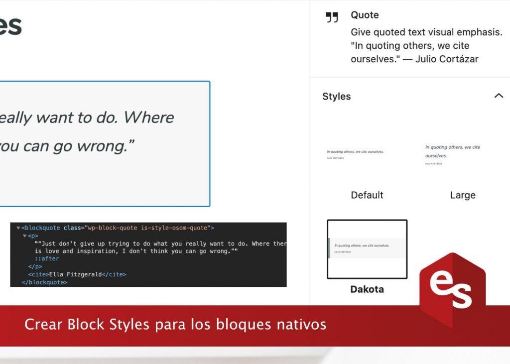 Crear block styles para bloques de gutenberg
