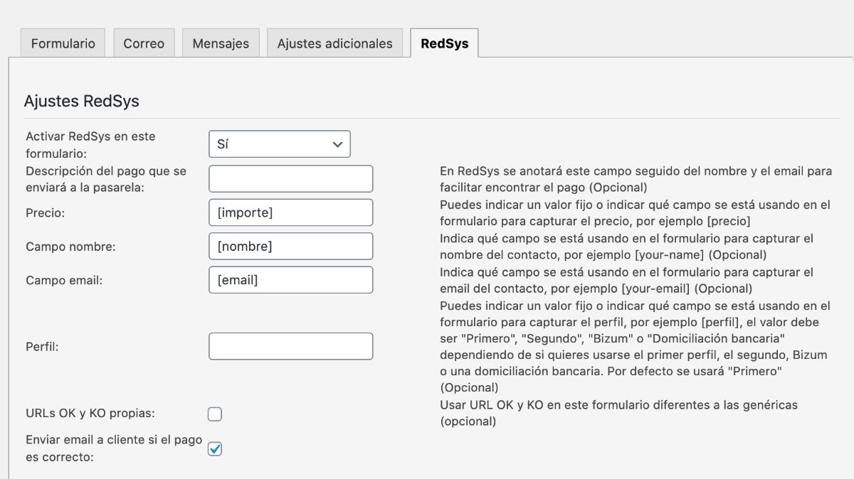 Contact Form 7 RedSys